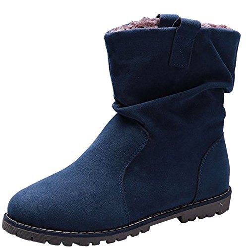 Suede Western Ladies Velvet Low Boots Heel On Women With Slip Slouch Blue Winter Wealsex Mid Casual Boots Boots Calf UvIq5qw0
