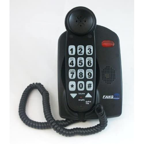 High Volume 56 dB Cool Fashioned Style House School Large Push Button Key Corded BlackTelephones For Old Who May Have Low...