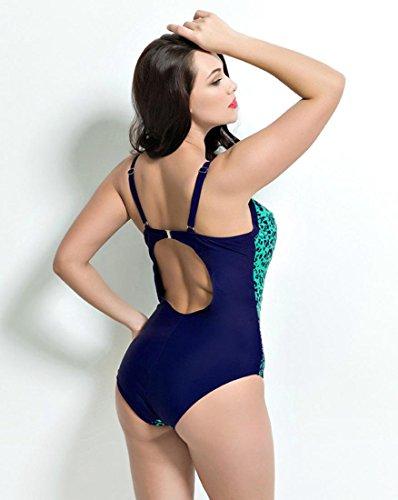HZZ Los estampados florales de las mujeres de una pieza del traje de baño más del tamaño que forma el cuerpo Beachwear Monokinis Green