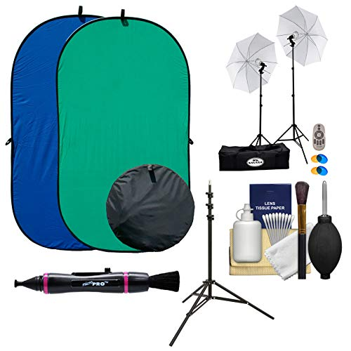 (RPS Studio 4x7 Chroma Key Blue/Green Screen Reversible Twist-Fold Background with 2 LED Video Lights & Light Stands + Kit)