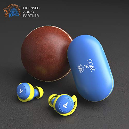 boAt Airdopes 441 TWS Ear-Buds with IWP Technology, Immersive Audio, Up to 30H Total Playback, IPX7 Water Resistance, Super Touch Controls, Secure Sports Fit & Type-C Port(CSK Blue)