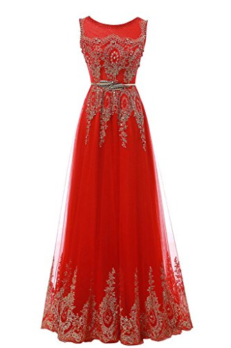 Lace Women's Tulle Homecoming Dresses Prom Evening Red Dearta Long A Line Scoop Appliques Gowns tZwngq1