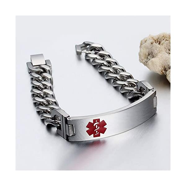 Grand Made 8,5 pulgadas gratis pulsera de grabado de emergencia médica para hombres ID Wrap for Adult Awake Bracelet Titanium Steel Medical Medical pulsera para mujeres 3