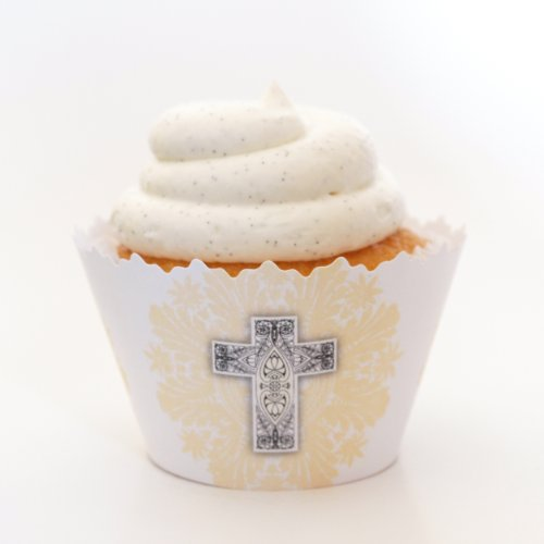 Christian Holy Trinity Faith 3 Crosses Cupcake Wrappers- Set of 12 - Use Liners At Baptisms & Christenings