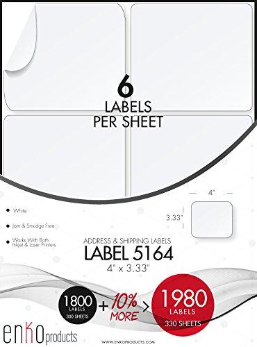 enKo [330 Sheets; 1980 Labels] 3-1/3 x 4