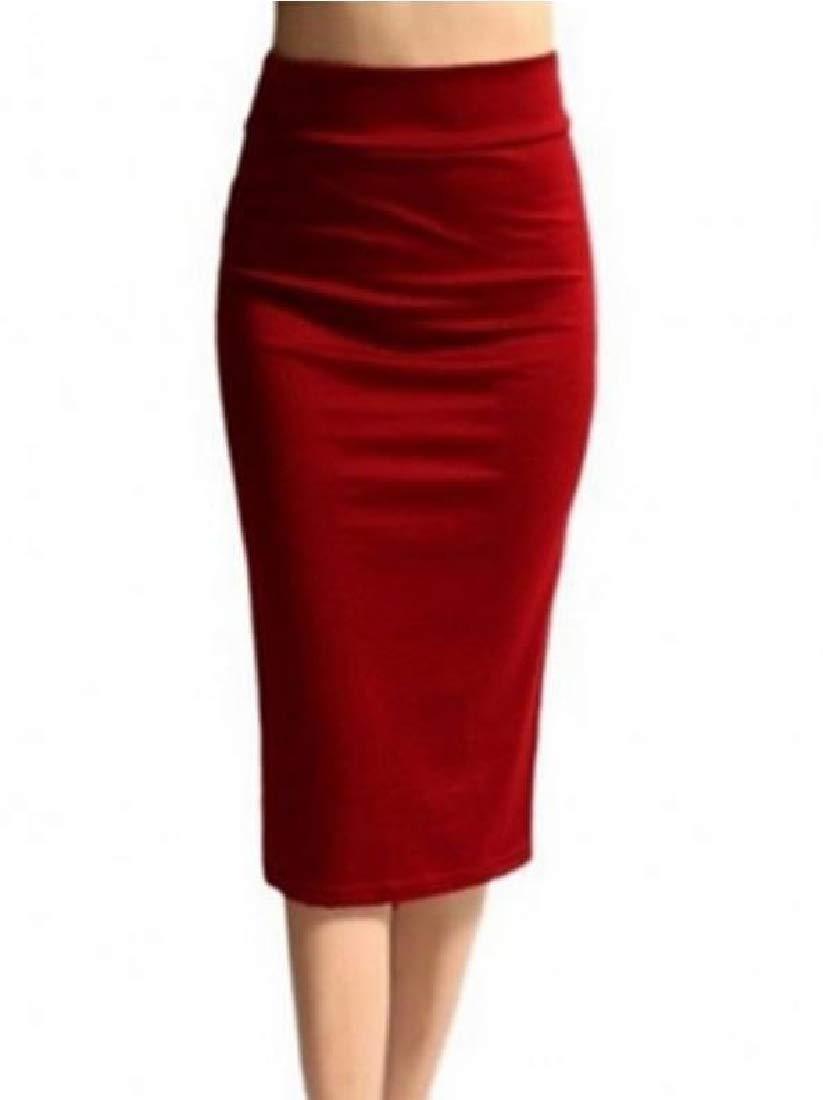 SportsX Women Slimming High Waist Knee-Length Mid-Long Pure Colour Skirt Red L