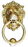 StonKraft Ideal Gift - Beautiful Brass Lion Mouth Door Knocker, Door Accessories, Gate Knocker (5'')