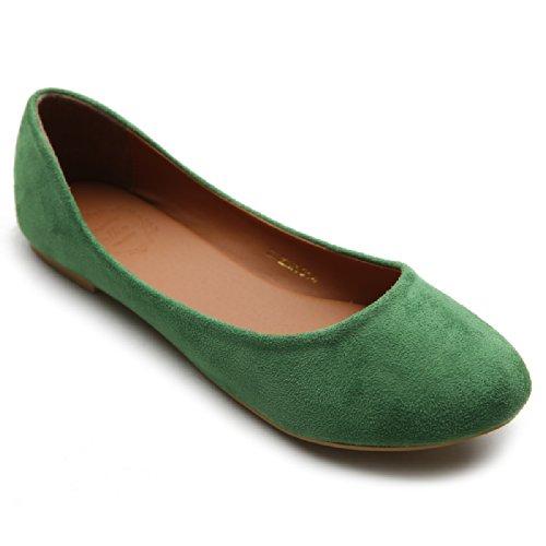 Ollio Womens Shoe Ballet Light Faux Suede Low Heels Flat ZM1014(6.5 B(M) US, Green) -