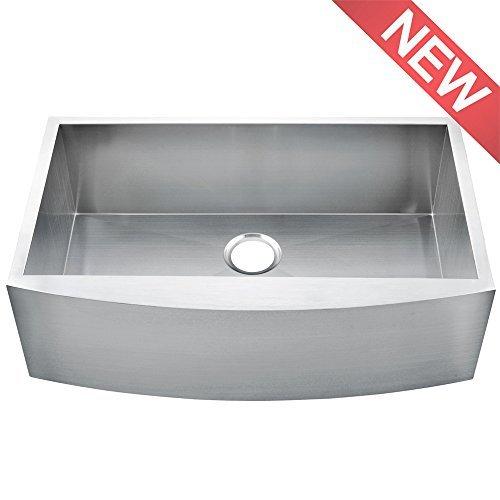 Comllen 36 Inch Handmade Apron Single Bowls 16 Gauge Stainless Steel Undermount Farmhouse (Stone Kitchen Farm Sink)