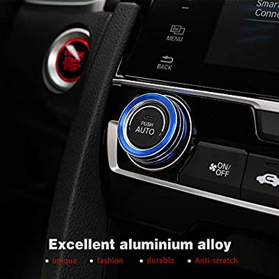 Thenice for 10th Gen Honda Civic Air Condition Knob Cover Trims, Anodized Aluminum AC Switch Temperature Climate Control Rings for Civic 2016 2020 2020 2020 (Blue): Automotive