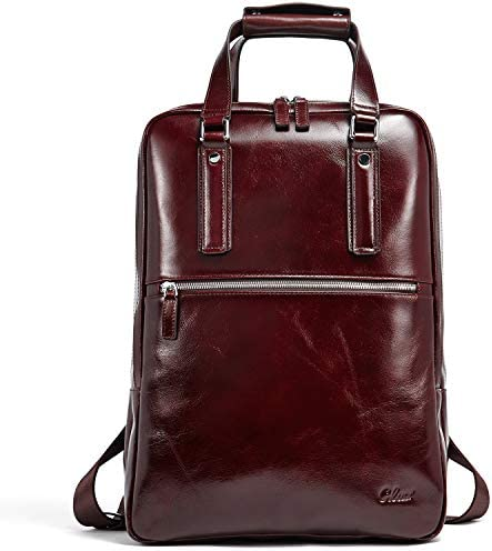Backpack for Men Oil Wax Genuine Leather Vintage Large Capacity 15.6 Inch Laptop Business Office Travel Bag