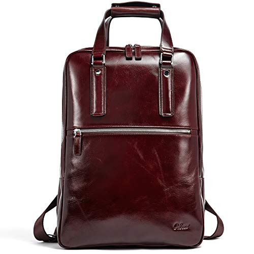 Backpack for Men Oil Wax Genuine Leather Vintage Large Capacity Business Travel Bag Fit 15.6 Inch Laptop Brown