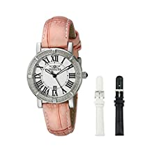 Invicta Women's 13967 Wildflower Silver Dial Pink Leather Watch with 2 Additional Straps
