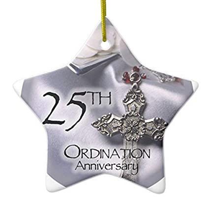 murieljerome 25th ordination anniversary cross host star ceramic christmas ornaments novelty funny for home christmas decorations - Ceramic Christmas Decorations