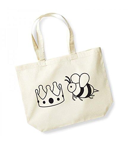 Queen Bee- Large Canvas Fun Slogan Tote Bag (Natural/Black)