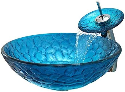 洗面ボウル バスルーム強化ガラス洗面化粧台ラウンドボウルを使ってChromeの蛇口コンボ、ポップアップシンクドレイン 浴室の台所の流し (Color : Blue, Size : 42x42x14.5cm)