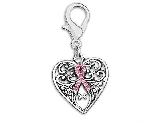 Breast Cancer Awareness Decorative Heart Hanging Charm (1 Hanging Charm - - Breast Cancer Jewelry Wholesale