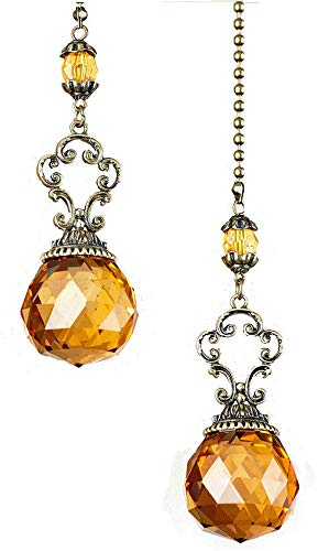The Lakeside Collection Set of 2 Vintage Jeweled Fan Pulls (Amber)