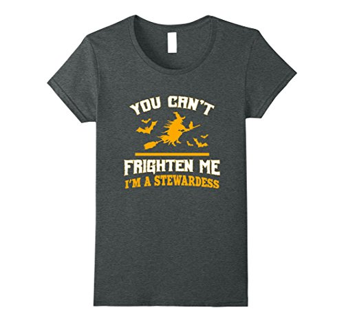 Womens You can't frighten me I'm a stewardess funny gift t-shirt Medium Dark (Zombie Stewardess Costume)