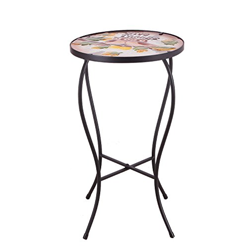 Homebeez Couple Owes Mosaic Round Plant Stand Accent Side Table, Black Color Curve Tube Legs, Outdoor Indoor, Height 22 Inches Mosaic Side Table