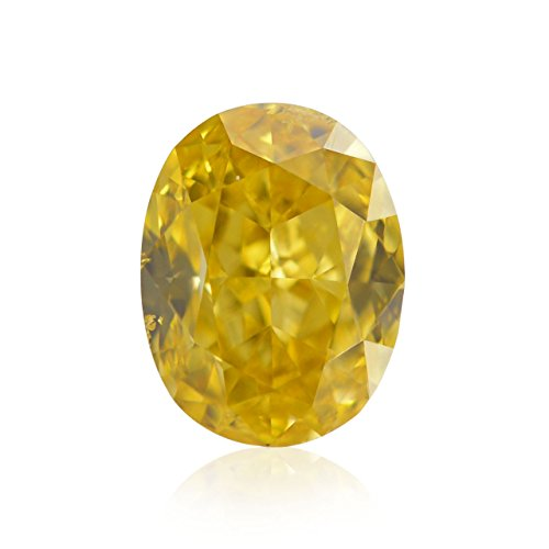 Si1 Diamonds Loose Oval (0.45 Carat Fancy Intense Orange Yellow Loose Diamond Natural Color Oval GIA)
