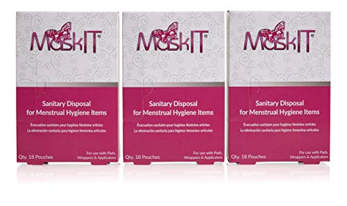 MaskIT Sanitary & Discreet Disposal Feminine Hygiene Pouches Large - for use with Pads, Wrappers & Applicators, 54 Count (3 Boxes)