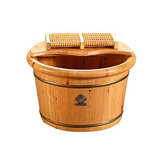 Qing MEI Cypress Barrel Foot Bath Barrel with Lid Foaming Basin Tub Foot Bath Barrel Foot Bath Household Foot Washing Barrel - Tub Cypress