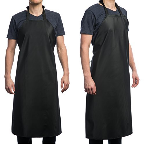 Waterproof Rubber Vinyl Apron - Upgraded 2018 Heavy Duty Model - Best for Staying Dry When Dishwashing, Lab Work, Butcher, Dog Grooming, Cleaning Fish, Projects - Industrial Chemical Resistant Plastic by Aulett Home (Image #2)