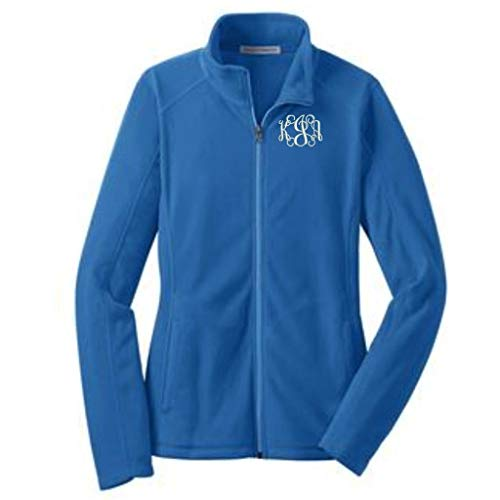 Lane Weston Monogrammed Women's Microfleece Jacket with Pockets (Small, Light Royal)