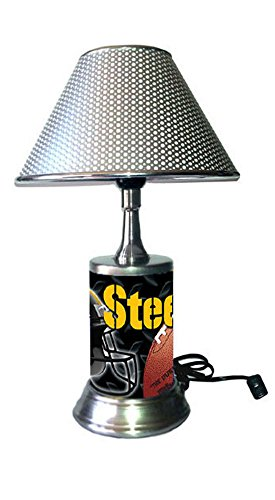 hrome Colored Shade, Pittsburgh Steelers Plate Rolled in on The lamp Base, NFL ()