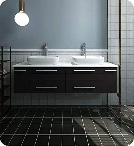 Fresca Lucera 60 Espresso Wall Hung Modern Bathroom Cabinet w//Top /& Double Vessel Sinks