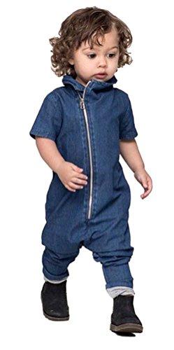 Baby Boys Girls Cotton Romper Bodysuit Jumpsuit Outfits Clothing Set (Blue) - 6
