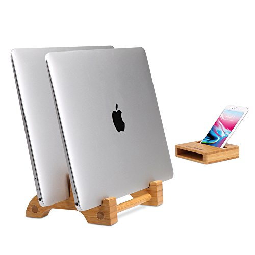 Vertical Laptop Stand, AVLT-Power Bamboo Tablet & MacBook Combo Stand with Natural Un-plugged Sound Amplifier Phone Holder Stand