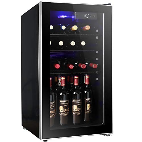 Bossin 26 Bottle Wine Cooler - Compressor Wine Cellar - Counter Top Wine Chiller- Cabinet Refigerator with Glass Door and Touch Panel Digital Temperature Display (26 Bottle)