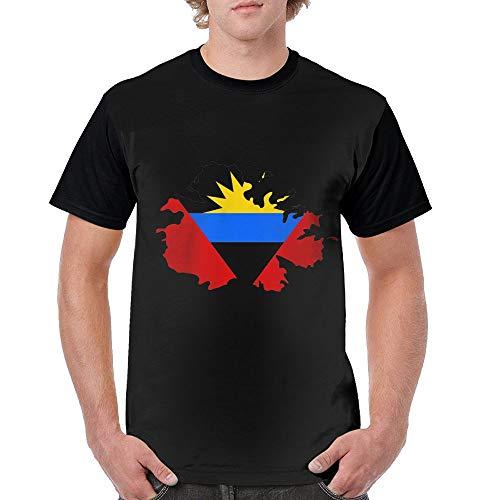 Flag Map of Antigua and Barbuda Mens Casual Blend 3D Print Short Sleeve T-Shirts ()