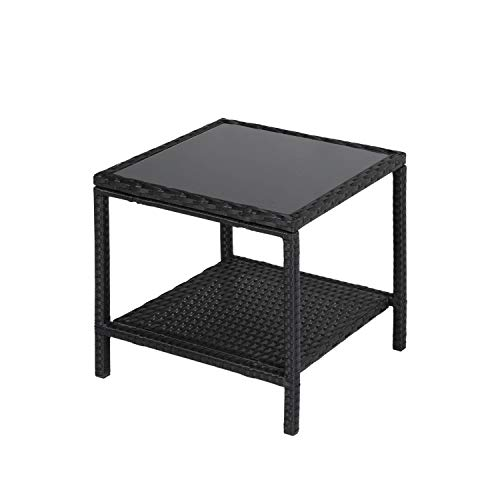 Worldrich 2 Tire Storage Patio Wicker Rattan Square Side Table Glass Top Wicker Coffee Table End Side Storage Table