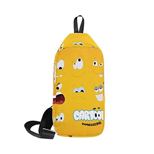 Bennigiry Backpack Men Crossbody Women One For Shoulder Bags amp; Sling Chest Cartoon Expressions Bag fqwSfr