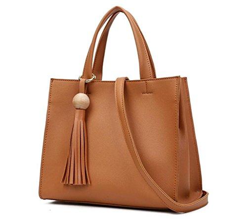 delle tracolla della spalla della di light donne dell'unità cuoio modo diagonale di delle borse borsa a NVBAO brown Borsa di elaborazione qfpwzBW4