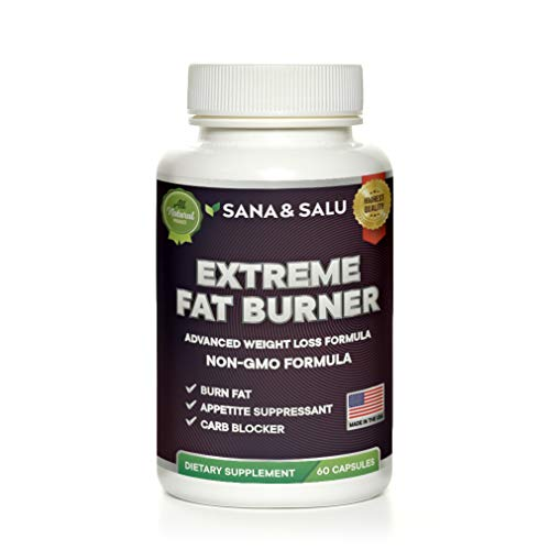 (Sana&Salu Extreme Fat Burner 60 Capsules Premium Formula, Healthy & Powerful Appetite Suppressant Burn Calories, Metabolism Booster for Men and)