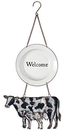 Sunset Vista Designs Galvanized Metal and Enamel Plate Welcome Sign, Cow and Calf