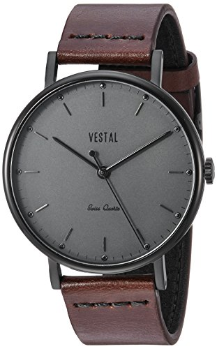 Vestal 'Sophisticate Leather' Swiss Quartz Stainless Steel and Man Made Dress Watch, Color:Brown (Model: SP42L09.DBBK)
