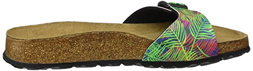 Papillio Madrid Birko-Flor Softfootbed Damen Pantoletten Mehrfarbig (Tropical Leaf Multicolor)