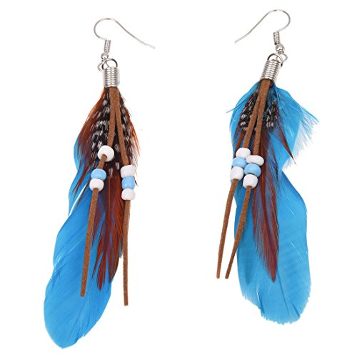 SODIAL(R) Pair Blue Feather Faux Bead Decor Fish Hook Earrings for - Color Name Tiffany And Co