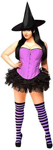 Pin Up Witch Costumes (Daisy Corsets Women's 4 Piece Candy Pin Up Witch Costume, Purple, Small)