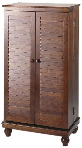 Leslie Dame CD-612VM Solid Oak Mission Style Multimedia Storage Cabinet with Louvered Doors, Merlot