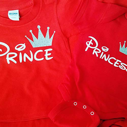 Disney Trip Shirts King and Queen Shirts Prince Princess Outfit Father Mother Daughter Son Matching Shirts (Price per Tshirt) (Princess M Youth, Red)