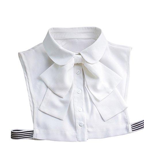 Shinywear Korean Women White Detachable Bow False Shirt Doll Collar Blouse Dickey for $<!--$12.99-->