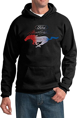 Ford Mustang Pony Emblem Sweatshirt Hoodie (Red White & Blue USA), Black, X-Large