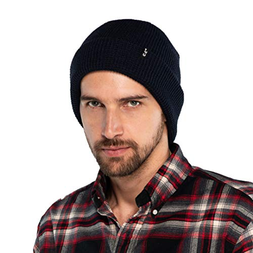 (C.C Hat Unisex Soft Stretch Knit Beanie with Reversible (HTM-7)(Navy, Waffle Knit))