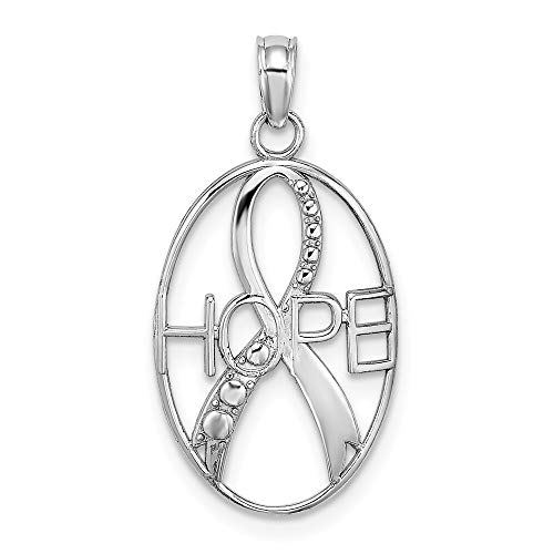 14k White Gold Textured Hope Ribbon Pendant Charm Necklace Awarenes Fine Jewelry Gifts For Women For Her